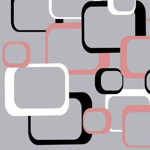 Retro Squares Pattern Pink White Black Gray