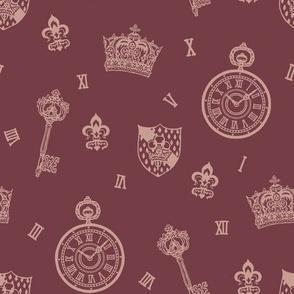 Purple Antique Pocketwatch, Crown and Keys Purple and Mauve