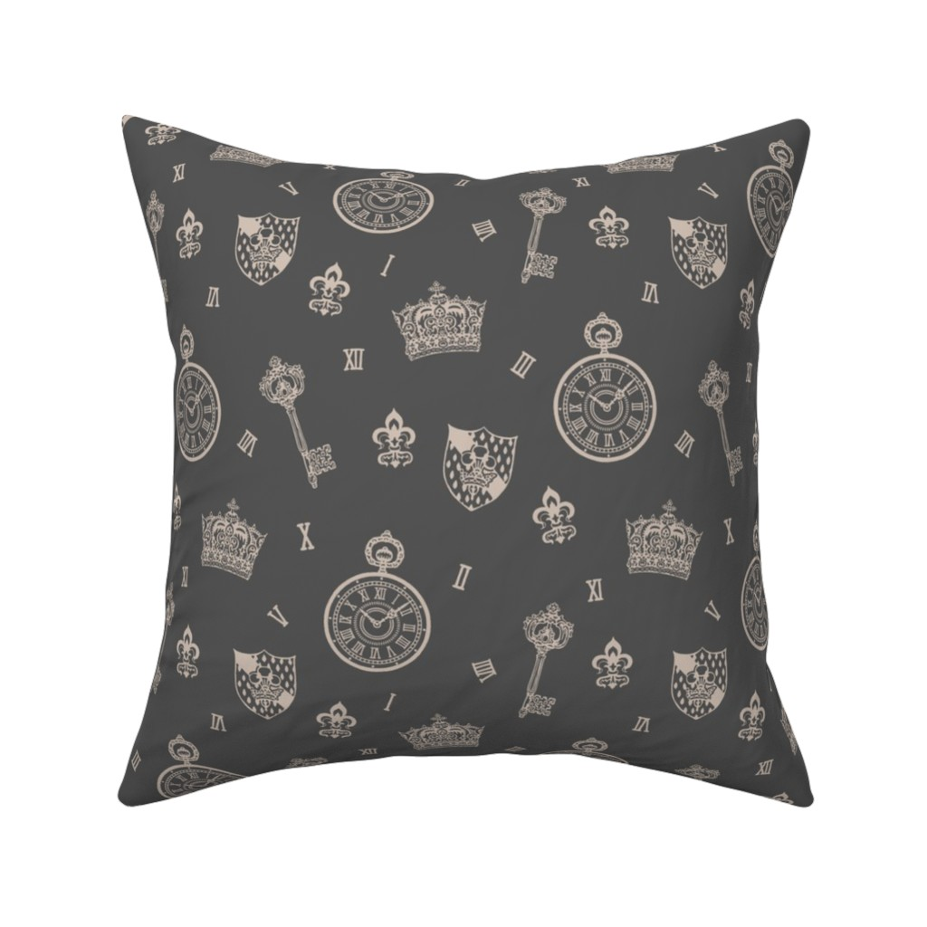 Catalan Throw Pillow featuring Gray Pocketwatches, Crown and Keys Grey by teja_jamilla