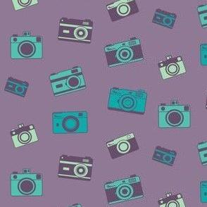 Retro purple and blue cameras