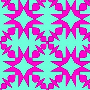 Pink Spurs on Turquoise SW Tile