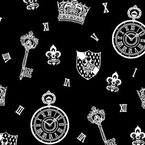 Antique Pocketwatch, Crown and Keys White On Black