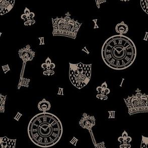 Antique Pocketwatches, Crowns &  Keys Black + Grey