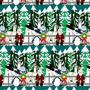 Alpacas and Snowmen Woodland Fabric