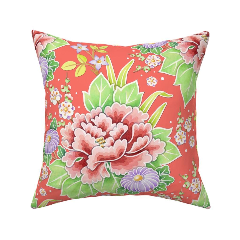 Catalan Throw Pillow featuring Coral Kimono Chintz by patriciasheadesigns