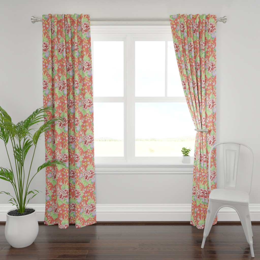 Plymouth Curtain Panel featuring Coral Kimono Chintz by patriciasheadesigns