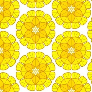 Yellow Carnation Bubble Stylized Floral Spring Time Design