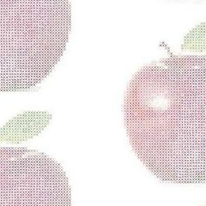 Cross Stitch Apple - White