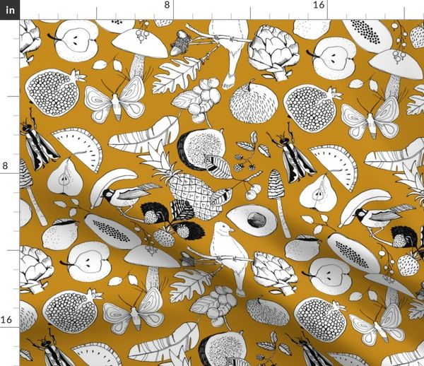Large Scale Fruits And Birds On Amber Spoonflower