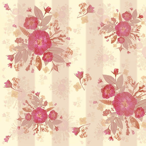 pink on cream rose sprays  stripe