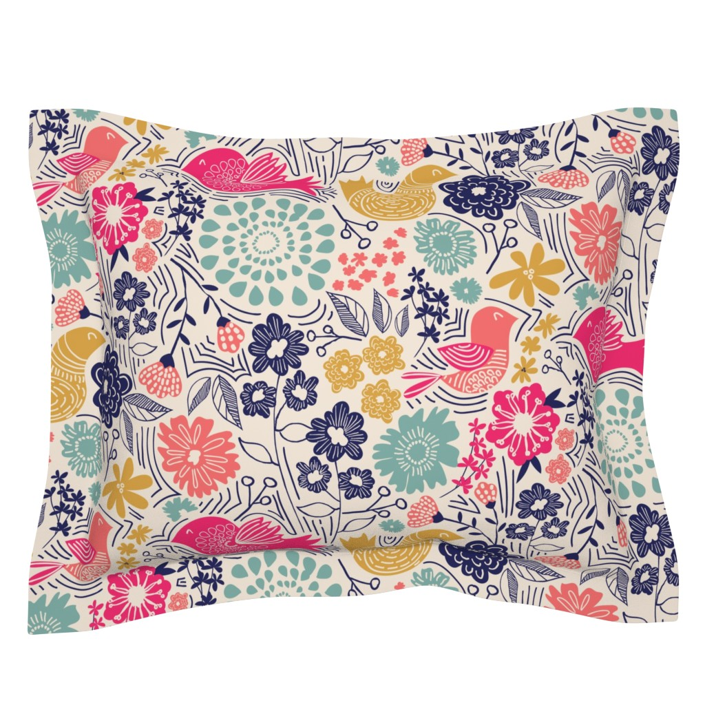 Sebright Pillow Sham featuring Folk Birds by jenflorentine