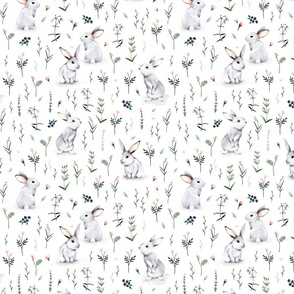 Meadow Bunnies watercolor