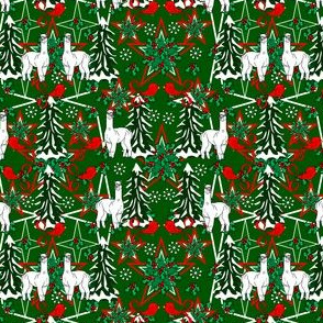 Alpacas Green Star  Fabric With Alpaca and Mistletoe
