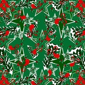 Alpacas Green Star Fabric With Snow Covered Trees