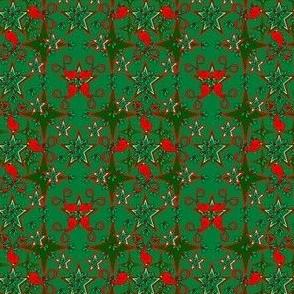 Alpacas Fabric Green Star With Mistletoe and Birds