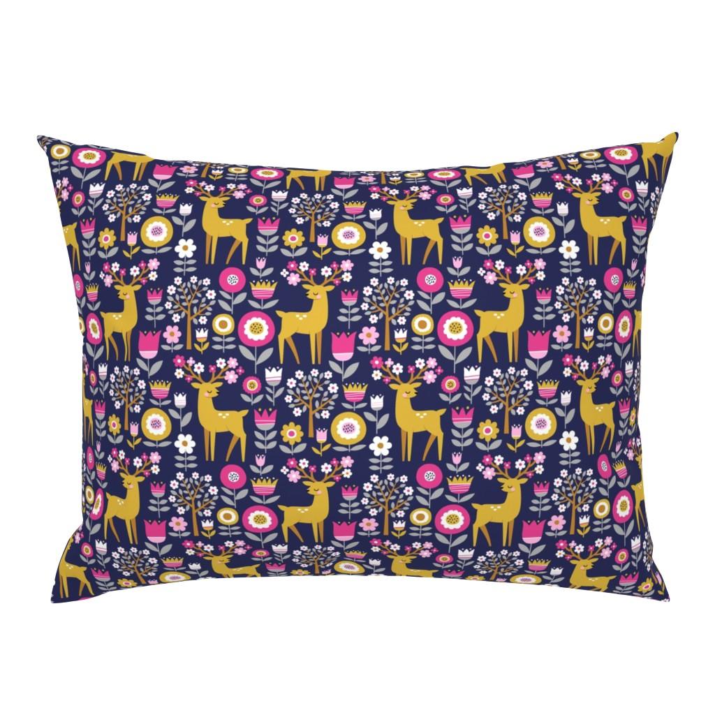Campine Pillow Sham featuring scandinavian spring - dark blue by mirabelleprint