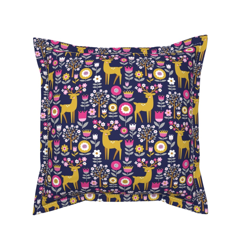 Serama Throw Pillow featuring scandinavian spring - dark blue by mirabelleprint