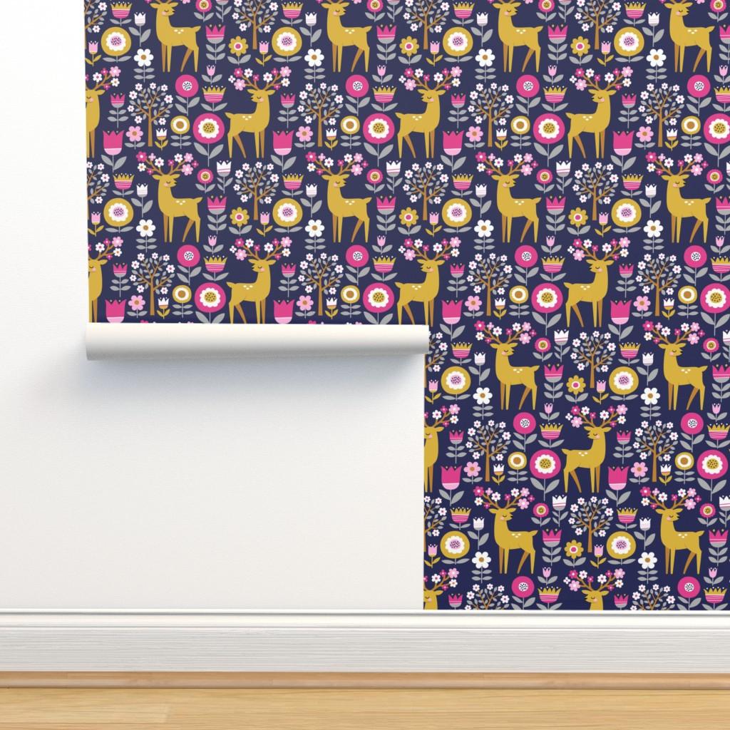 Isobar Durable Wallpaper featuring scandinavian spring - dark blue by mirabelleprint