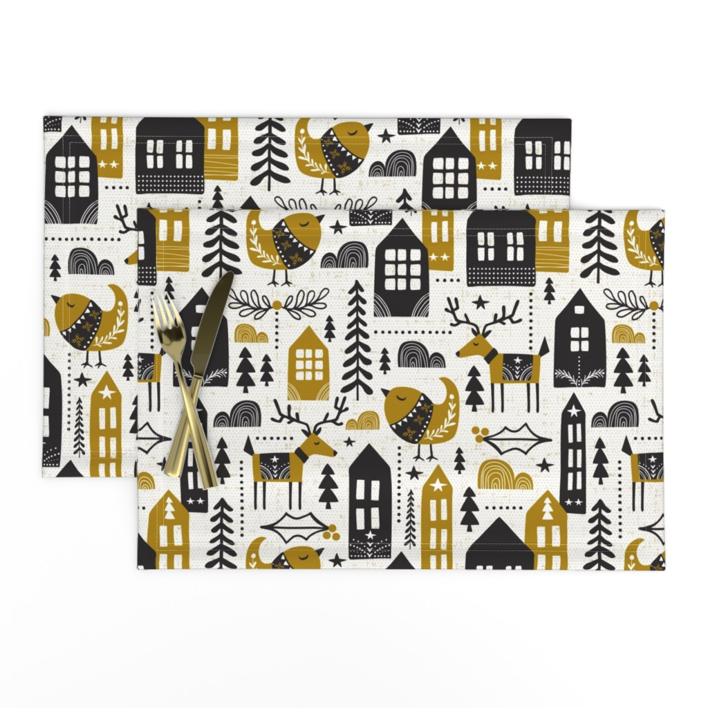 Lamona Cloth Placemats featuring Yuletide - Scandinavian Christmas Large Scale by heatherdutton