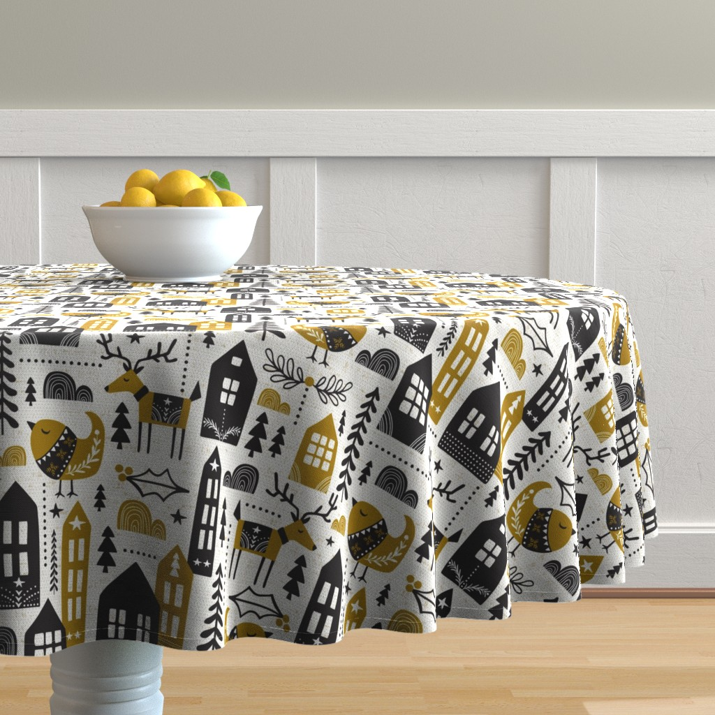 Malay Round Tablecloth featuring Yuletide - Scandinavian Christmas Large Scale by heatherdutton