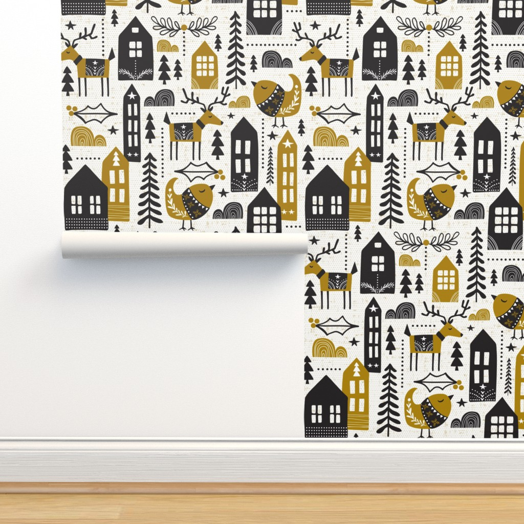 Isobar Durable Wallpaper featuring Yuletide - Scandinavian Christmas Large Scale by heatherdutton