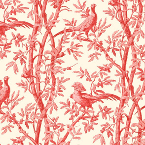 Golden Pheasants Chinoiserie Toile ~ Coral Reef on Cosmic Latte