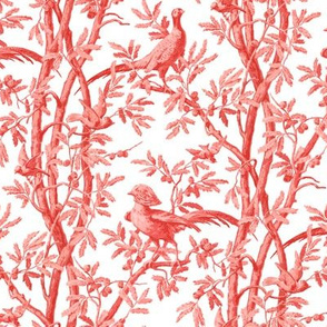Golden Pheasants Chinoiserie Toile ~ Coral Reef on White