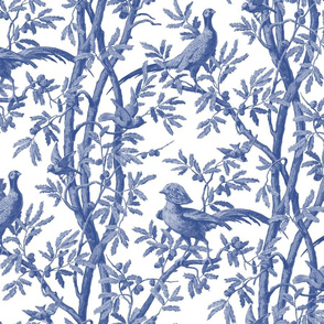 Golden Pheasants Chinoiserie Toile ~  Willow Ware Blue and White
