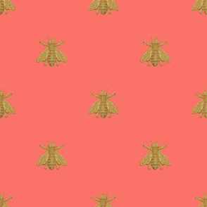 Napoleonic Bees ~ Faux Gilt on Coral Reef