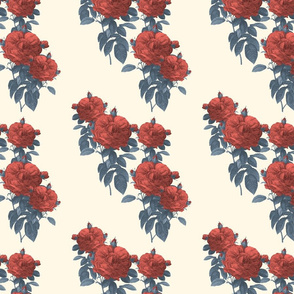 Redoute Rose ~ Coral Reef and Elzabeth on Cosmic Latte