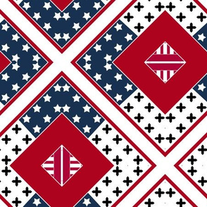 Red-blue white abstract patches patchwork pattern