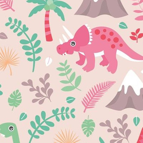 Colorful botanical dino monster garden kids dinosaurs design volcano palm tree leaves pastel pink girls LARGE