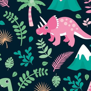 Colorful botanical dino monster garden kids dinosaurs design volcano palm tree leaves night pink girls LARGE