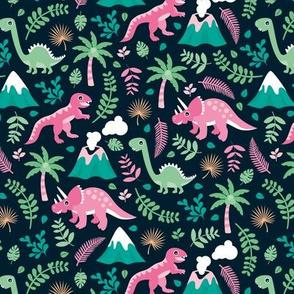 Colorful botanical dino monster garden kids dinosaurs design volcano palm tree leaves night pink girls MEDIUM