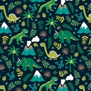 Colorful botanical dino monster garden kids dinosaurs design volcano palm tree leaves night green boys MEDIUM