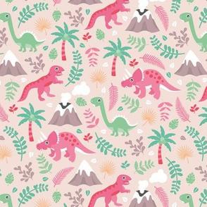 Colorful botanical dino monster garden kids dinosaurs design volcano palm tree leaves pastel pink girls MEDIUM