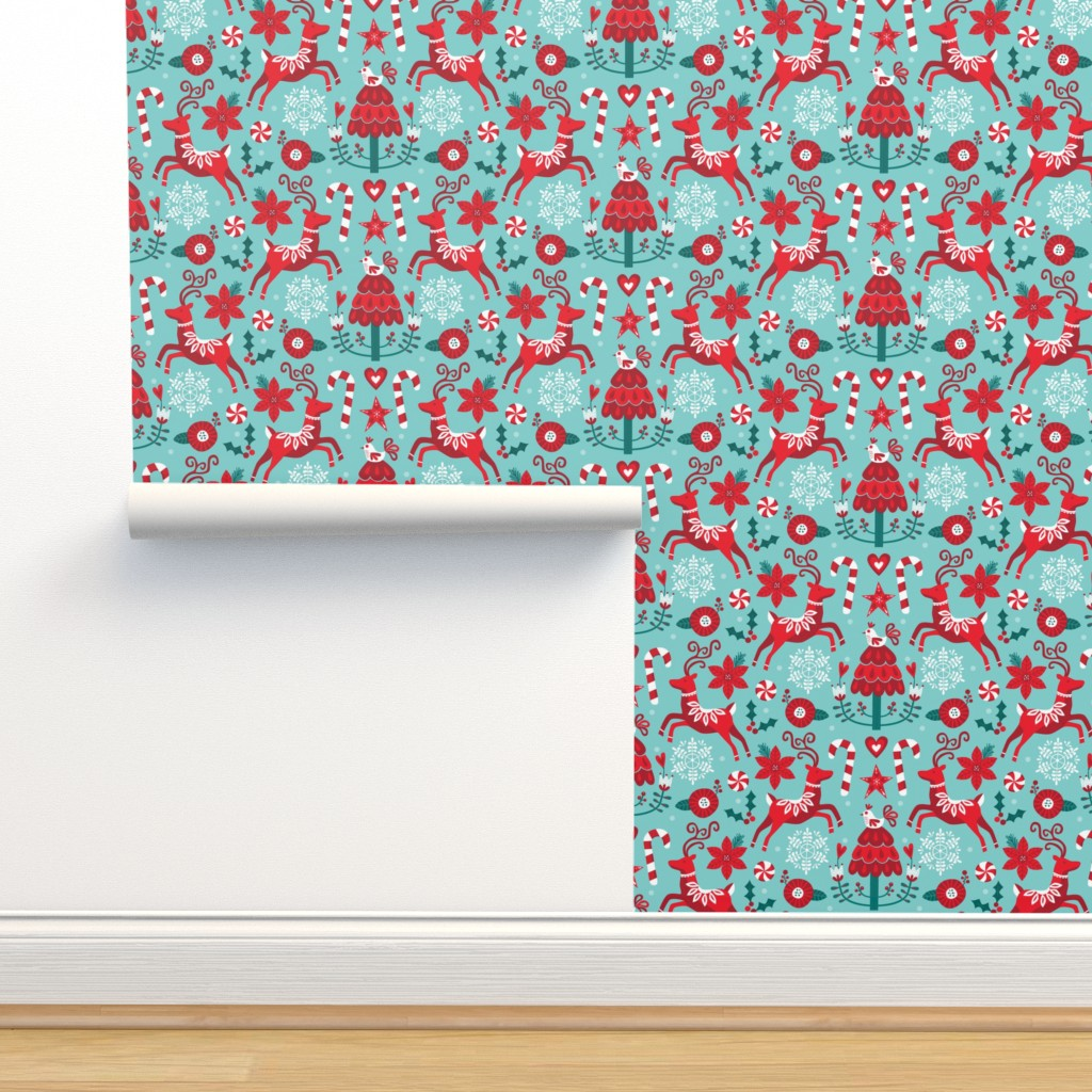 Isobar Durable Wallpaper featuring Icy Christmas by lisa_kubenez