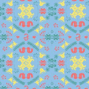 Lovebirds scandi tile multi on blue.
