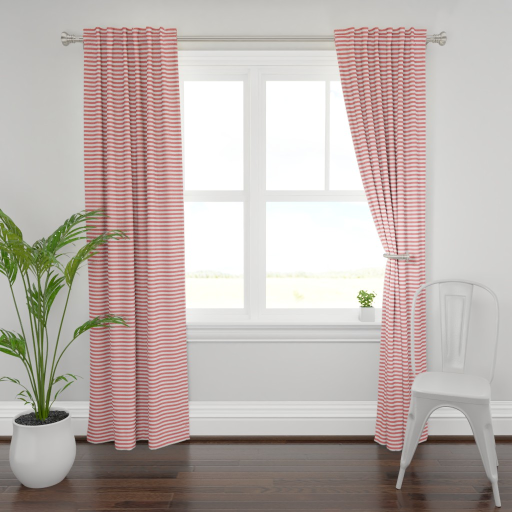 Plymouth Curtain Panel featuring Boden Stripe pink lemonade by lilyoake