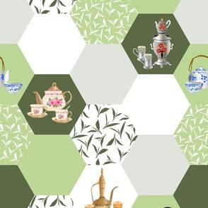 tea hexagons - green-white-grey