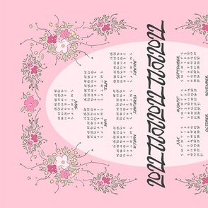 "2021 Calendar Tea Towel - PINK Floral Sprays ©Julee Wood - TO PRINT CORRECTLY choose FAT QUARTER in any fabric 54"" or wider"