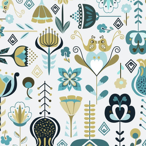 Scandi Flowers - Blue and Green