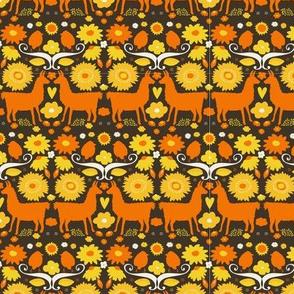 Folk Llama Ivory Yellow and Orange on Brown