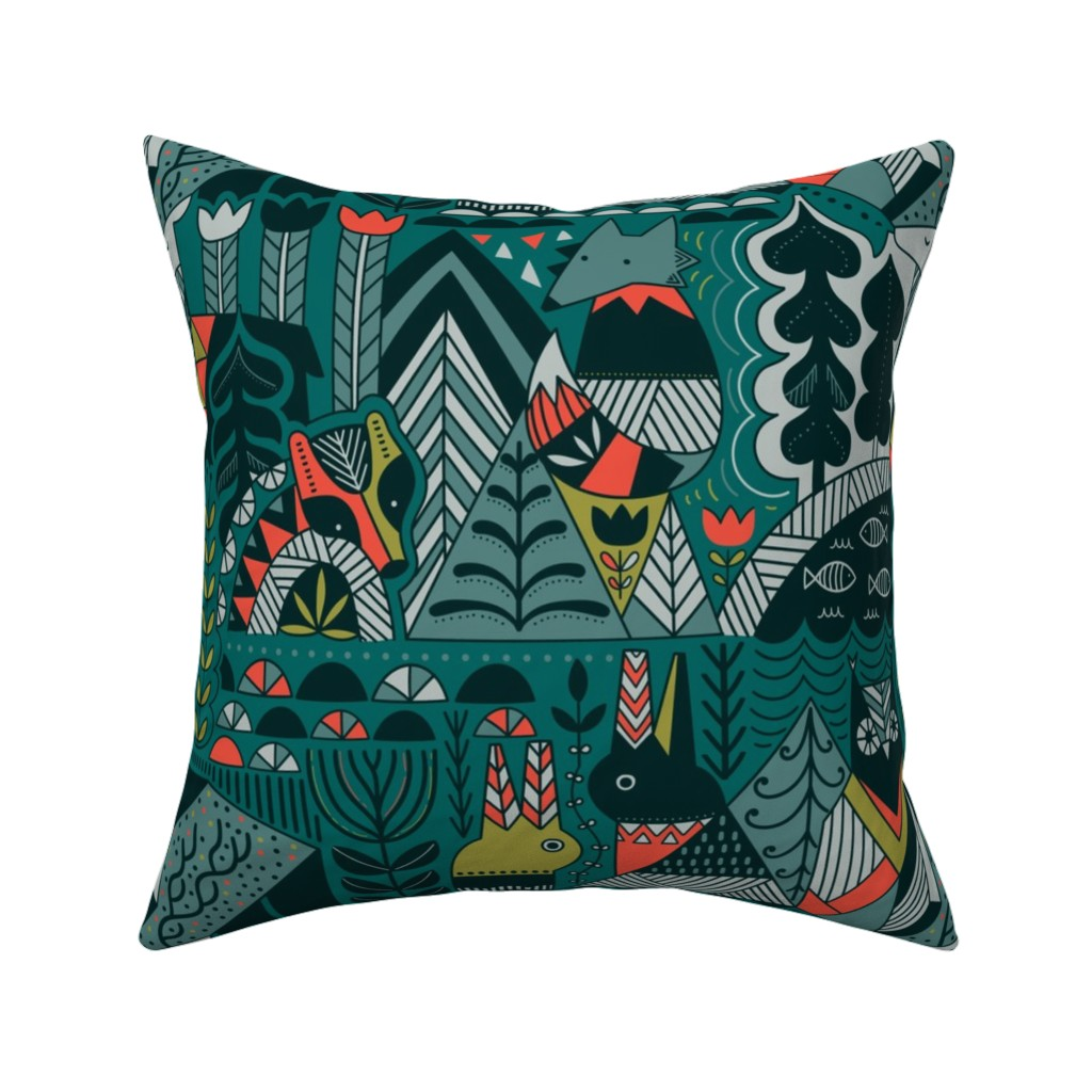 Catalan Throw Pillow featuring Scandinavian forest friends by kostolom3000