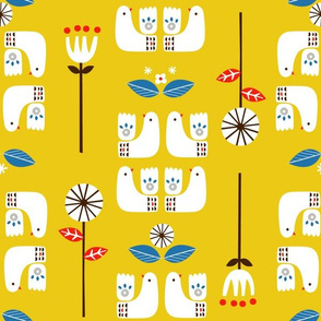 Scandi birds yellow 12""