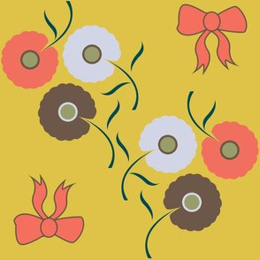 Dainty Floral on Mustard