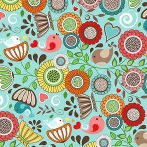 Colorful Floral Scandinavian Folk Art with Birds