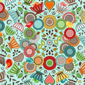 Colorful Scandinavian Folk Art - Flowers and Birds 2