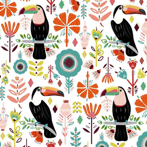 Colorful Scandinavian Toucans (Large version)