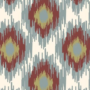 18-1b Medallion Ikat Dusty Blue Red Cream Olive Green  _ Miss Chiff Designs